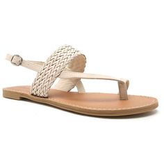 Qupid Athena Braided Flat Sandals (2100 RSD) ❤ liked on Polyvore featuring shoes, sandals, braided sandals, flat shoes, qupid sandals, braided shoes and woven flat shoes