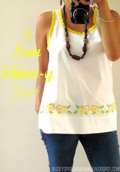 A Sun Shine-y Shirt - Anthro Inspired TUTORIAL, Shirt from a vintage sheet!  http://www.etsy.com/shop/GardenLaundry