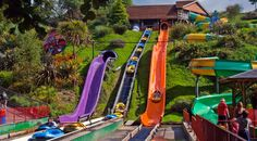 Various water flumes at Woodlands Theme Park