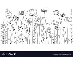 Doodle Background, Background Drawing, Vector Background, Flower Doodles, Flower Doodle Art, Floral Doodle, Flower Art, Free Doodles, Simple Line Drawings