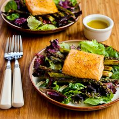 Recipe for Roasted Salmon and Asparagus Salad with Mustard Vinaigrette | Kalyn's Kitchen®