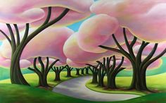 """""""Pink Park"""" Oil Canvas by Dana Irving"""