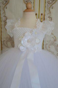 Simply White flower girl tutu dress by TutuSweetBoutiqueINC Princess Tutu Dresses, Blush Flower Girl Dresses, Pink Tutu Dress, Flower Girl Tutu, Baby Dress, Girls Communion Dresses, Birthday Dresses, Birthday Tutu, Little Girl Closet