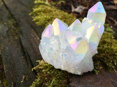 White Angel Aura Quartz Druzy Cluster Titanium Crystal Point