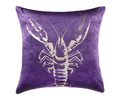 juxtaposing playfulness and luxury, this gold drenched lobster features foil on royal purple velvet.Care InstructionsCold gentle machine wash separately Do not