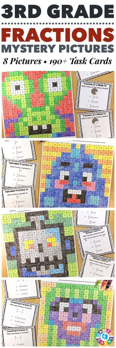 """I LOVE these mystery pictures for reinforcing concepts!"" These 3rd Grade Fractions Mystery Pictures are perfect for practicing key 3rd grade Common Core fractions standards. This set includes 8 different pictures and over 190 task cards covering fractions of a whole, fractions of a group, fractions greater than 1, fractions on a number line, equivalent fractions, and comparing fractions!"
