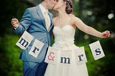 Burlap Mr & Mrs sign I made.