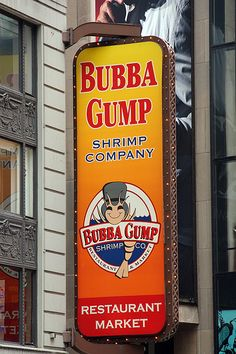 "Bubba Gump Shrimp Company ~ Times Square, New York.A fun, theme restaurant based on the movie ""Forrest Gump"". We had a good meal and a good time! Bubba Gump Restaurant, Cool Restaurant, Forrest Gump, Bubba Gump Shrimp Company, Hotel Edison, A New York Minute, I Love Nyc, New York City Travel, Go To New York"