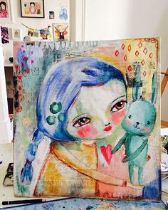 Girl and bunny mixed media painting, whimsical painting, original art to frame, wall art, colorful art Easter Art, Soul Art, Art Journal Inspiration, Journal Ideas, Painting Process, Mixed Media Painting, Whimsical Art, Art Tutorials, Watercolor Art
