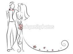 silhueta da noiva e noivo, fundo, convite de casamento, o vetor — Vetor de Stock © virinaflora #25235995