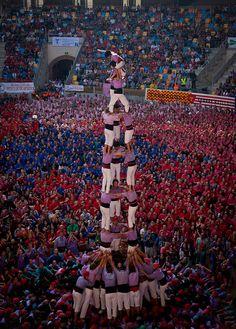 Castellers in Tarragona human pyramid