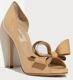 Valentino Couture Beige Patent Leather Bow d'Orsay Peep Toe Pumps- WANTED