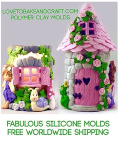 Polymer clay fairy house, lovetobakeandcraft.com