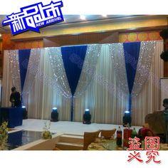 2014 background yarn curtain Wedding Backdrops blue shinning Wedding stage decor
