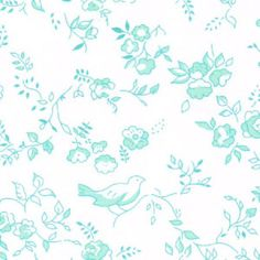 Aqua Floral Fabric | Wholesale Floral Fabric - Print #1779