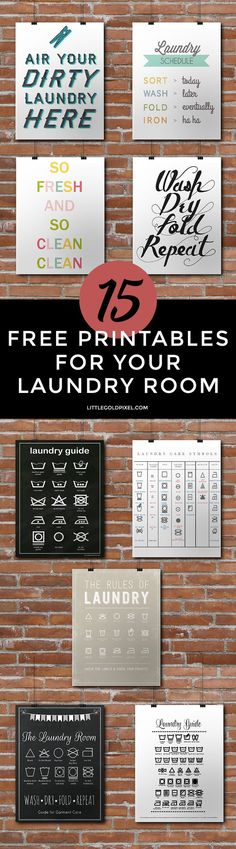 15 Laundry Room Free Printables • Little Gold Pixel • In which I dream of decorating my very own laundry room, with pretty method detegerent and ladder hangers and fun art. Oh, and a washer and dryer I DON'T have to insert coins into.  #stylebymethod #CleverGirls