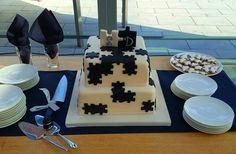 Puzzle themed wedding cake