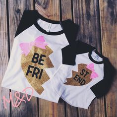 Best Friends Raglan Shirts, Mommy and Me Shirts, Twins Shirts, Sisters Shirts, Sibling Shirts, Hipster Shirt, Gold Glitter Shirts, Heart 801 by MillysAndDillys on Etsy https://www.etsy.com/listing/253636775/best-friends-raglan-shirts-mommy-and-me