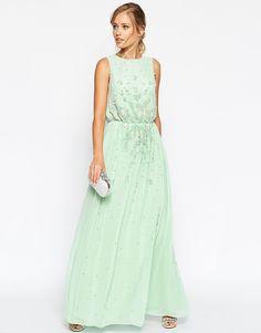 Image 4 - ASOS SALON - Maxi robe parsemée d'ornements avec taille fantaisie