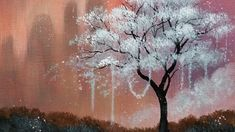 Fantasy Landscape Blooming Tree LIVE Acrylic Painting Tutorial