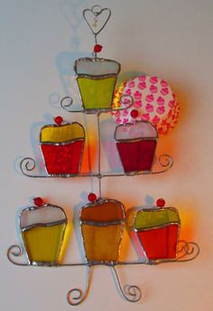 Beautiful cupcakes, great for a gift. Coloured Glass Cupcakes on a Cake Stand Stained by MadeInGlass, £22.50