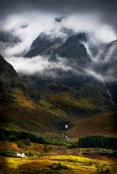 Blaven in Malevolent Weather; photograph by Barbara Jones. Storms brood on the heights of the mountain, known as Blaven, of the Black Cuillin, which looms menacingly over the cottage below.  Across Loch Slapin, from Torrin village, the Isle of Skye, Scotland.