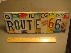 License Plate, Art Pl8, ROUTE 66: KS, OK, TX, IL, AZ, KS, NM, MO, AZ