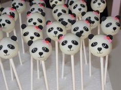 Pandas — Cake Pops / Cake Balls Dutcher we can do this! but i wish Zieres can come and help us! Panda Bear Cake, Bolo Panda, Panda Cakes, Panda Themed Party, Panda Birthday Party, Bear Birthday, 13th Birthday, Kung Fu Panda, Asian Party Themes