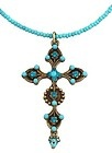 Michal Negrin Vintage Silver Plated Cross Pendant Accented w Turquoise Crystals - Accented, Cross, Crystals, Michal, Negrin, pendant, Plated, silver, Turquoise, Vintage - http://designerjewelrygalleria.com/designer-jewelry-galleria/michal-negrin-vintage-silver-plated-cross-pendant-accented-w-turquoise-crystals/