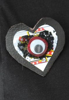 Pretty Disturbia Gothic Leather Brooch With Playing Card and Eye Detail. Available for £5.00.