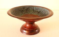 Vintage Antique Decorative Handmade Copper Round Compote by POTUKS