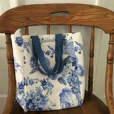Laura Ashley Floral Fabric Bag with Sashiko Handles / Dance