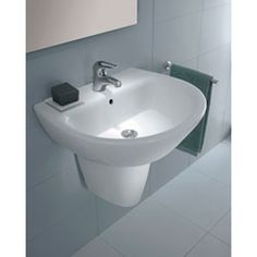 Universal Jazz Ceramic Semi-Pedestal Wall Mounted Sink