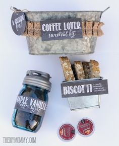 A gift basket idea: Coffee Lover Suvival Kit! Homemade coffee syrup, homemade bisocotti, some k-cups and free printables!