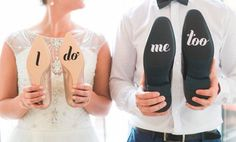 Cuteness overload! Take a memorable picture like this on your wedding day with these wedding shoe decals. | I Do Sticker Wedding Shoe Decal Vinyl | Wedding Photo Props DIY