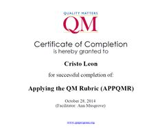 QM Applaying the QM Rubric to Cristo Leon