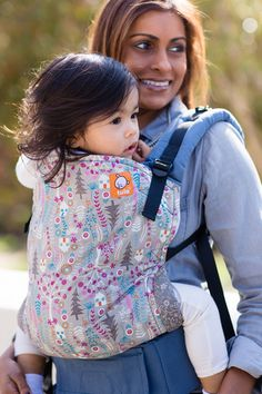 Baby Tula's 'Forest House' baby carrier can be used in both front carry and back carry, and allows for babywearing from infants to toddlers.