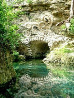 ☞☞☞ Ancient Mayan Carvings, Xcaret, Riviera Maya, Mexico