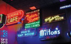 Vintage neon signs from jazz clubs decorate the American Jazz Museum  located in the historic 18th and Vine Jazz District, in Kansas City, #Missouri.