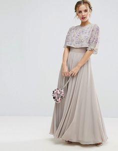 ASOS PETITE Embellished Short Sleeve Floral Maxi Dress