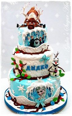 Does anyone know of any stores that make a frozen cake like this in Ammon/Idaho Falls? My daughter wants a frozen birthday party and I love this cake! Crazy Cakes, Fancy Cakes, Cute Cakes, Pink Cakes, Disney Frozen Cake, Disney Cakes, Frozen Theme, Frozen Movie, Sven Frozen