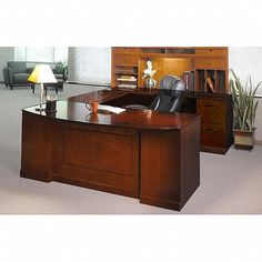 Mayline Sorrento Series U-Shape Desk Office Suite Finish: Bourbon Cherry Veneer, Orientation: Office Suite, Office Desk, Bourbon Cherries, Access Panel, Pencil Boxes, Lounge Sofa, Desk Set, Storage Compartments, Sorrento