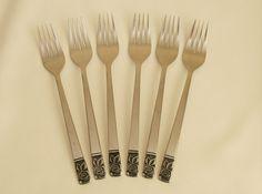 """6 vtg 60s-70s dinner forks 7¼"""" 18.5cm stainless steel retro embossed black rose"""