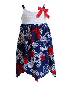 Look at this Red & Blue Floral Lace Dress - Girls on #zulily today!