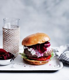 Burgers with pickled beetroot