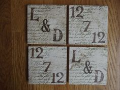 Monogram Just Married Tile Coasters by whimsycreationsbyann