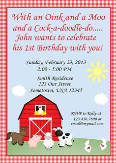 Barn Yard Farm Animals Red Gingham Invitations by sharenmoments