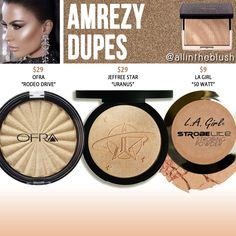 "I have another Anastasia highlighter dupe to share with all of you today! The next shade up on the dupe list is ""Amrezy"", a light. Jeffree Star, Beauty Dupes, Beauty Makeup, Skincare Dupes, Glow Makeup, Drugstore Makeup Dupes, Beauty Hacks, Face Makeup Kit, Makeup Stuff"