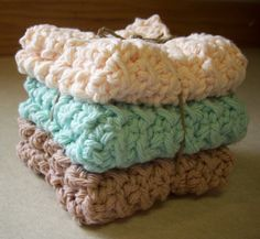 Cotton Crocheted Washcloths in Aqua Peach and by roadstoeverywhere, $7.50    You can't tell me these don't look amazing.