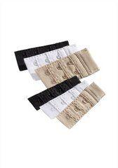 Die Packung besteht aus 6 BH-Verlängerungen 3x1 Haken Verschluss in weiß, schwarz und haut + 3x2 Haken Verschluss in weiß, schwarz und haut. Material: 100% Polyamid.